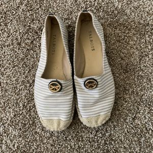 Talbots espadrille striped flats dragon fly accent
